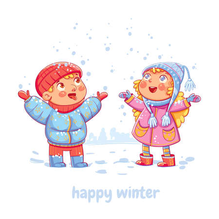 Snowfall. Children enjoy the snow. Boy catching snowflakes on his tongue in the wintertime. Funny cartoon character. Vector illustration. Isolated on white background