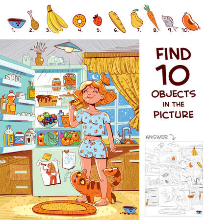 Find 10 objects in the picture. Puzzle Hidden Items. Girl in pajamas eating a piece of cake near the refrigerator. Funny cartoon character Ilustración de vector