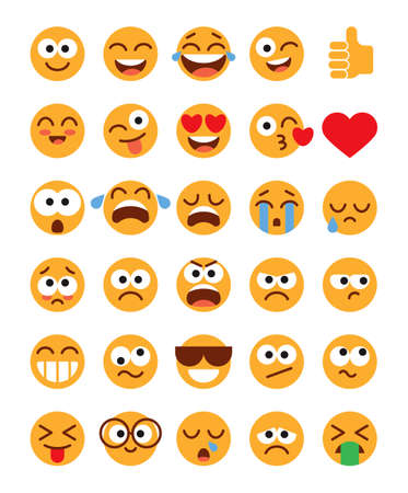 Emoji pack. Set of funny classic emojis. Flat style. Isolated on white background. Vector illustration