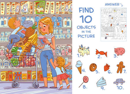 Find 10 objects in the picture. Puzzle Hidden Items. Mother and two young children are shopping in a supermarket. Funny cartoon character