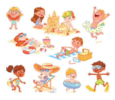 Set of summer scenes with children. Vacation at sea. Children swim with inflatable ring, swimming mask and flippers, sunbathe on the beach, build sand castle, eat watermelon. Funny cartoon character