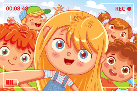 Group of friends taking a selfie and laughing. Children shoot myself on smartphone. Kids fooling around on camera. Video recording. Funny cartoon character. Vector illustration