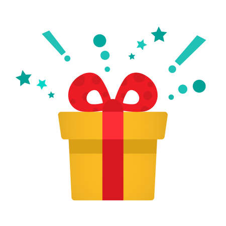 Delight present, surprise yellow gift box, birthday celebration, special give away package, loyalty program reward, wonder gift with exclamation mark, vector icon Иллюстрация