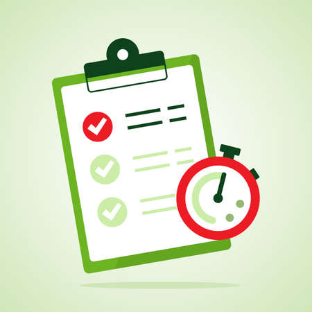 Fast service. Stopwatch with checklist and completed tasks isolated on blue background. Vector