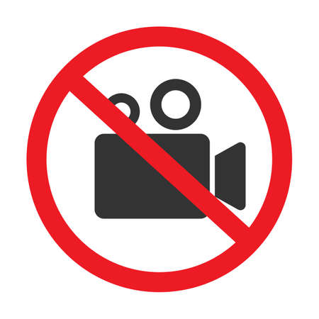 Stop or ban sign with camcorder icon isolated on white background. Video shooting is prohibited vector illustration.