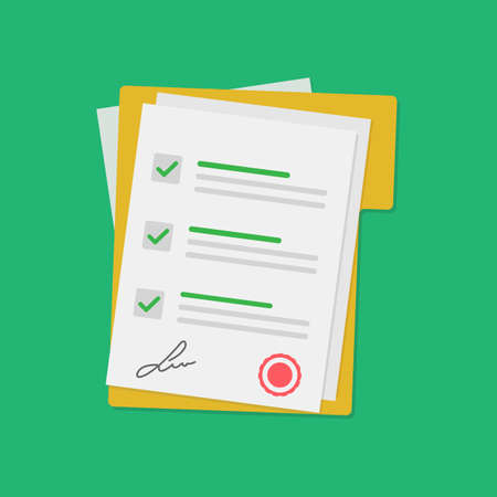 Contract Document vector flat design