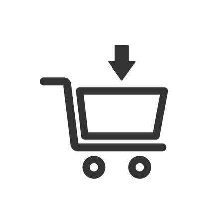 Online shopping cart sketch icon for web and mobile