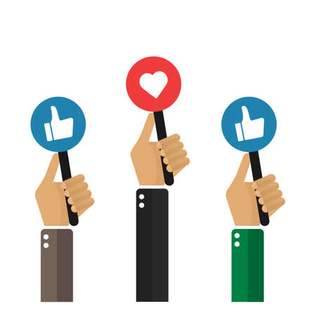 """A lot of hands holding boards with sign """"thumbs up"""". Feedback, voting concept. Vector, illustration, flat."""