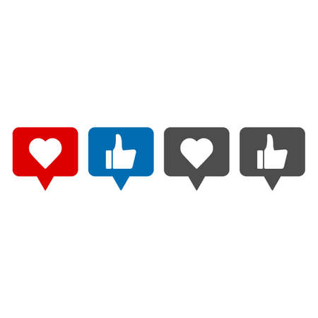 Thumbs up and down, heart signs on colorful round flat vector icons. Set of like button Illustration
