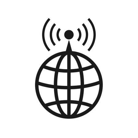 World Wide Internet Signal vector icon. filled flat sign for mobile concept and web design. Globe and antenna simple solid icon. Symbol, logo illustration. Pixel perfect vector graphics 矢量图像