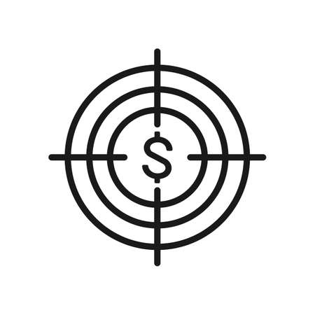 Dollar in the target icon. Outline dollar in the target vector icon