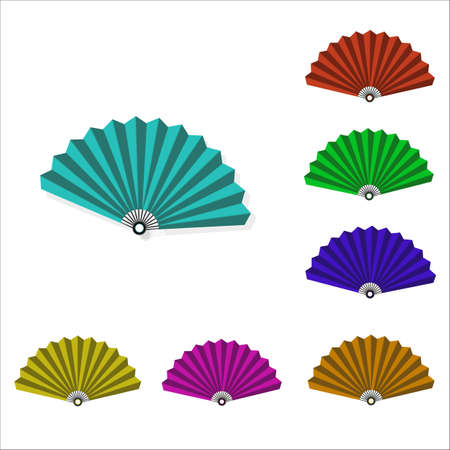 Multicolored female fans, vector icons.