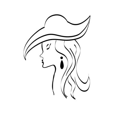 Black lady in hat on a white background.