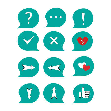 Set of icons - punctuation marks, crosses, check marks, hearts, arrows Illustration