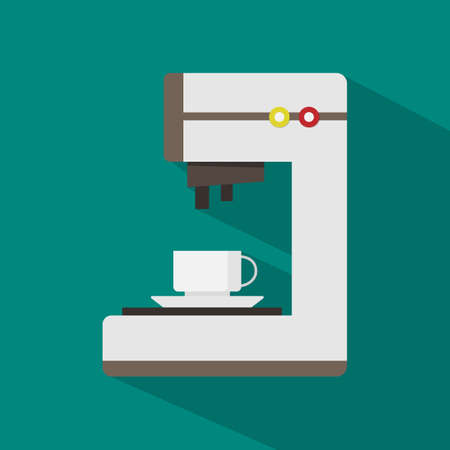 coffee machine flat icon with shadow