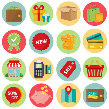 Shopping Flat icon set for Web and Mobile Application. vector Vektorové ilustrace