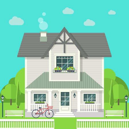 Modern graphic architectural design. Colorful set: house, bench, yard, bicycle, flowers and trees. Flat style vector Ilustración de vector
