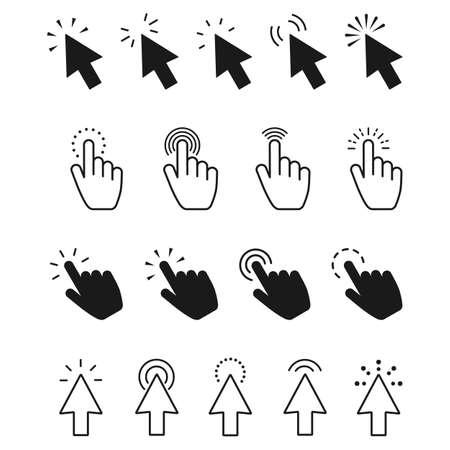 click icon set. Hand clicking, Computer mouse click cursor Vector