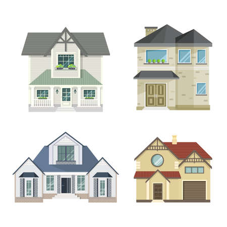 Set of 4 different residential town houses - urban architecture. Vector illustration in flat style, isolated on white background. Vector Illustration