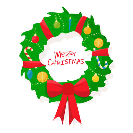Christmas decorated wreath on a white background. Flat cartoon style vector illustration.