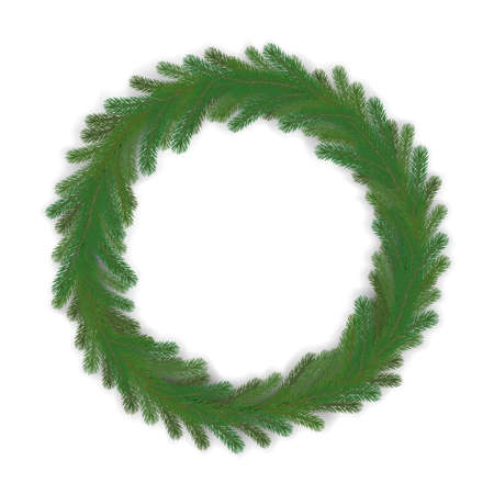 vector green christmas wreath, global colors. spruce wreath, pine wreath