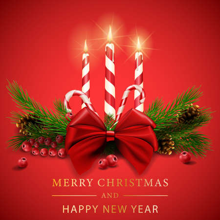 Merry Christmas Realistic Shining Candles, Burning Fire, Light Garlands and Fir Tree Branches on Red Background. Vector illustration Illusztráció