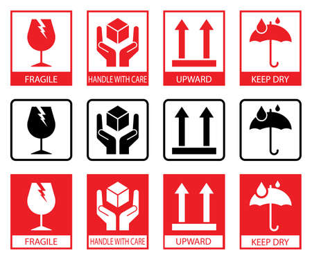 Fragile icons. Set Of Packaging Symbols: this side up, handle with care, fragile, keep dry Vector Illustration