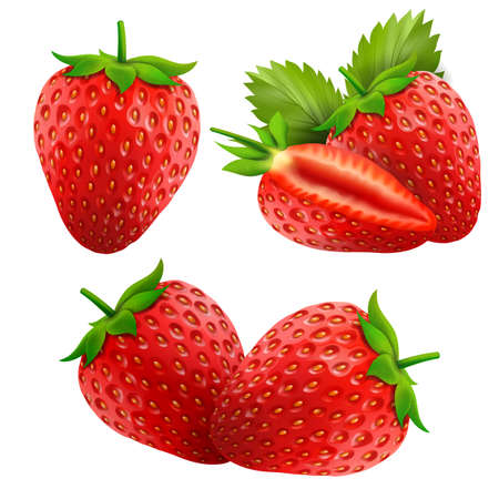 Strawberry isolated on a white background. Sweet fruits. 3d realistic vector icons. Set of strawberries with leaves. Vetores