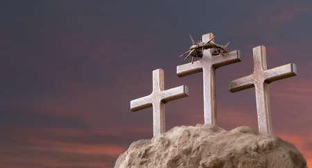 He is risen. Wood cross on sunset sky background with copy space for inscription. Jesus Christ Resurrection. Christian Easter concept. Reklamní fotografie