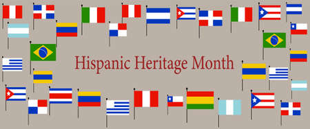 different color and Flags of America. Cultural and ethnic diversity. National Hispanic Heritage Month.