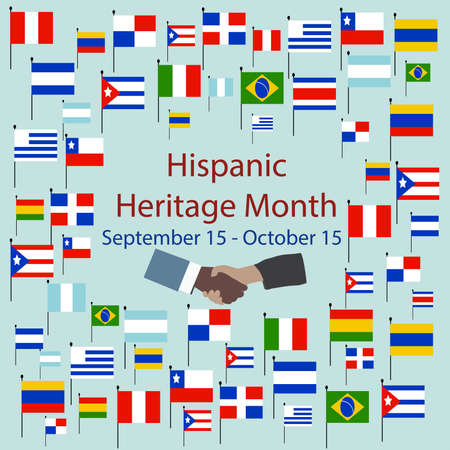Flags of America with text inscription. National Hispanic Heritage Month. September 15 to October 15. Cultural and ethnic diversity. Vecteurs