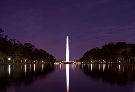 야간에 풀을 반사하여 반사 된 워싱턴 기념비