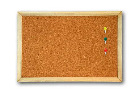board - cork board  with three color pin Drop shadow Stock Photo - 8045916