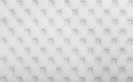 imitation leather: White background Chesterfield,  for interiors and furniture Stock Photo