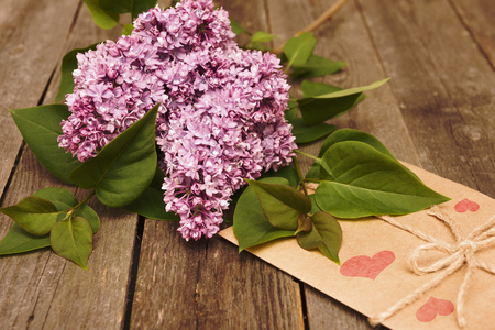 Lilac branch on wooden background, Valentines Day and Mothers