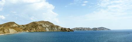 Panorama of the coastline and mountain tops. Crimea. Koktebel