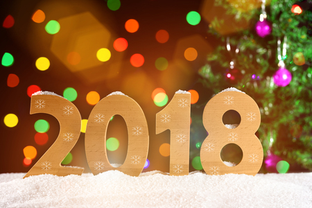 New Year background 2018, lights garlands, bokeh Stock Photo