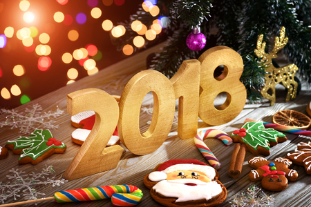 Christmas background with Christmas cookies, decoration and spices, 2018 Stock Photo