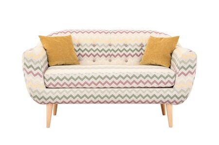 Sofa with yellow pillows in Scandinavian style Stock Photo