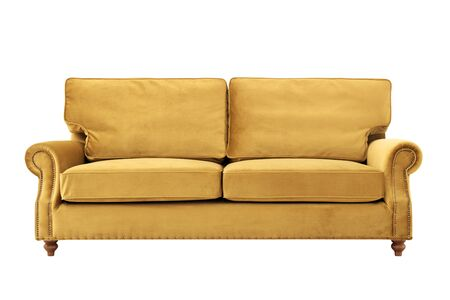 Convenient soft sofa of yellow color in retro style