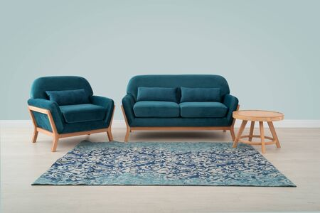 Sofa and chair in stiny velor in Scandinavian style