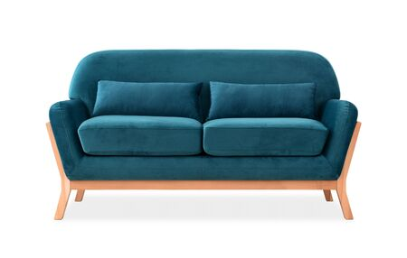 Sofa from blue velor in Scandinavian style Stock Photo