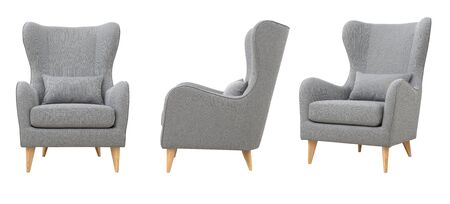 Chair from gray fabric in the Scandinavian style