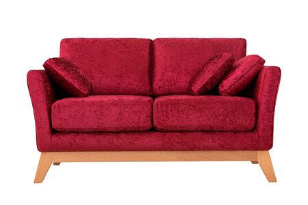 Convenient sofa from red velor, on white background