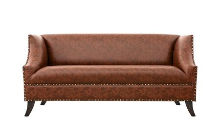 Sofa from brown leather, gorinzontalno, on white background Stock Photo
