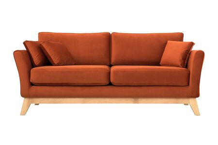 Sofa from brown velor in Scandinavian style Stock Photo