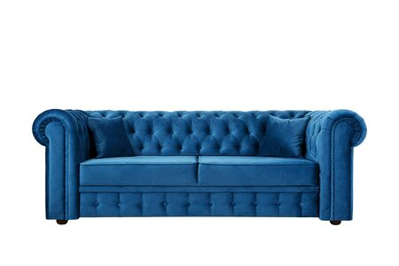 Sofa in English style from blue velor