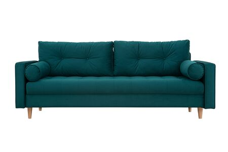 Sofa green with pillows in Scandinavian style Stock Photo