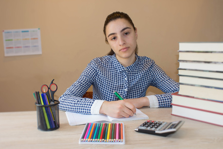 bibliography: Girl doing her homework. School books on desk, education concept. Young Student Girl doing lessons at home Stock Photo