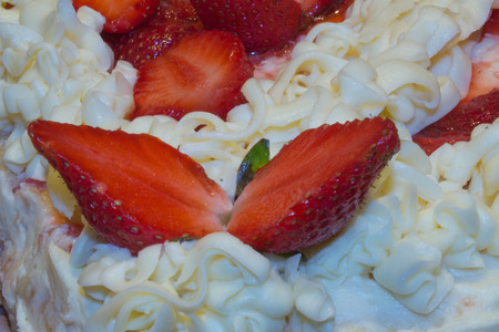 close up - Delicious traditional strawberry cake. Fresh strawberry cheesecake